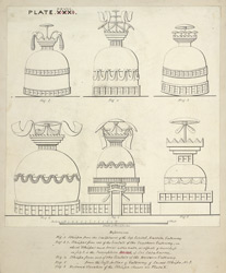 Elevations of six stupas from sculptures on the East, West and South gates, Sanchi